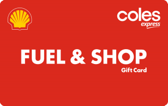 Red card with white Coles Express logo and yellow shell logo. White text Fuel & Shop gift card