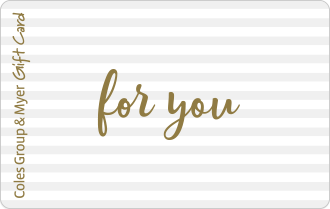 Gold text for you on silver and white striped background, can be used at particpating retailers