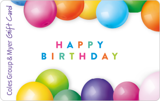 Coloured ballons on white background with text happy birthday, can be used at particpating retailers