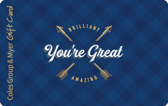 Navy check background with white text you're great, can be used at particpating retailers