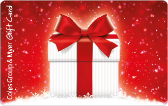 Christmas white striped box with red ribbon on spearkly red background, can be used at particpating retailers
