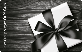 White box black ribbon on black wood grained background, can be used at particpating retailers