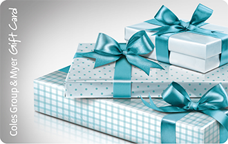 Three wrapped presents in various patterns and tied with a blue ribbon