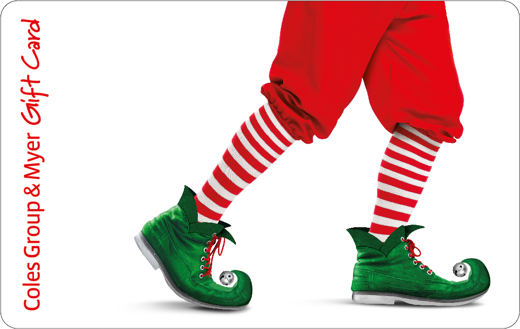 Cropped image of elf legs, red trousers, red and white striped socks and green elf shoes on a white background.