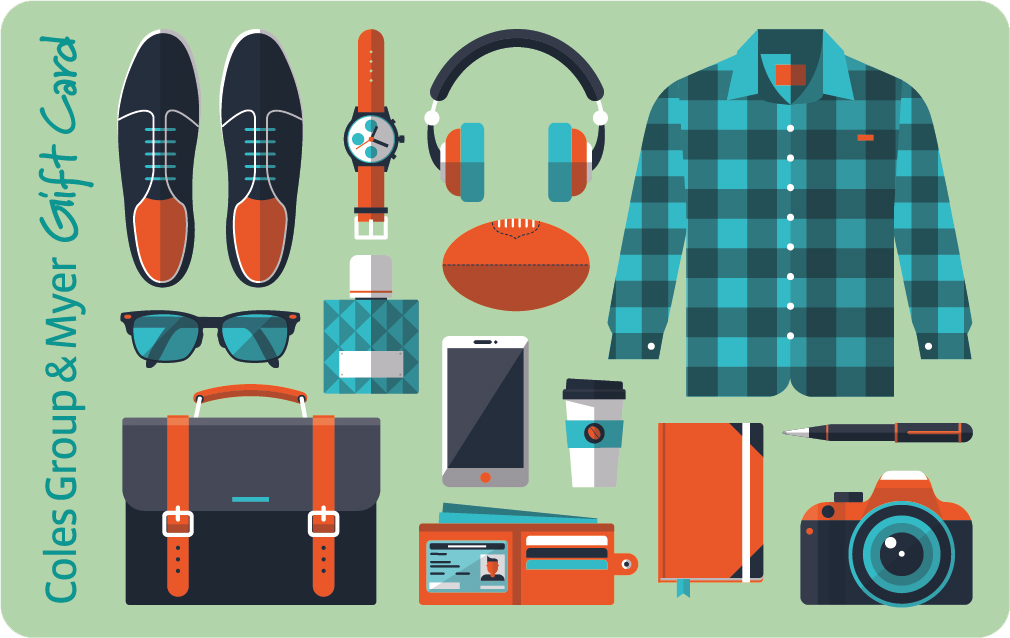 Mix of images in dark gey, orange and turquoise of shoes, watch, headphones, football, sunglasses, mobile, briefcase, wallet, camera and checked shirt on pale green background.