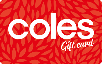 Red background with with text Coles, can be used at Coles Supermarkets only