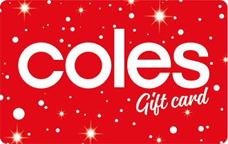 Red card with white stars and Coles logo