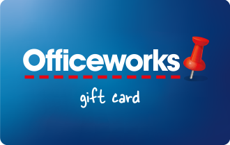 Mid blue background with white text Officeworks, can only be used in Officeworks stores
