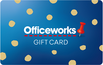 Blue background with gold spots. White text Officeworks gift card