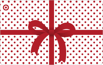 Small red spots on white background with red bow, can only be used in Target stores