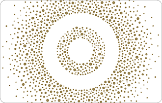 Small gold spots on white background, in the shape of a circle, can only be used in Target stores